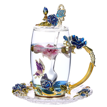 Creative Enamel Cup with Lid Heat-resistant Glass Cute Flower Tea Cup Household Tea Set Suit Couple Cup