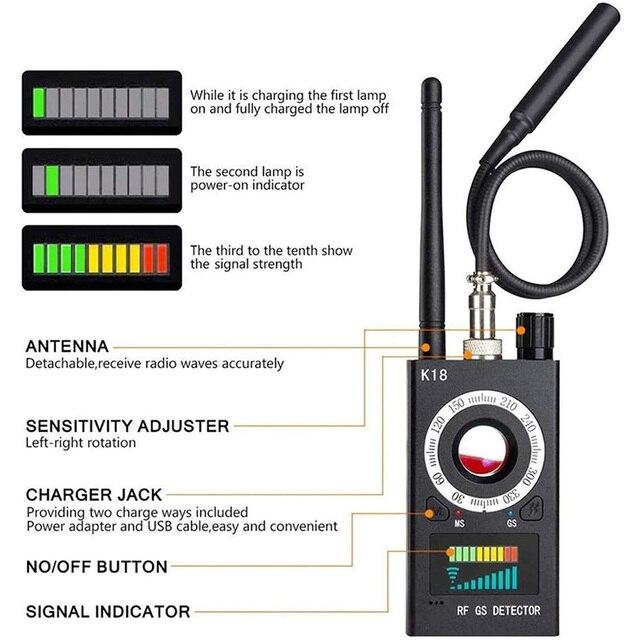 Multi-Function Anti Detector Bug Detector Signal Camera Detector BUG Anti Spy Detector RF Tracker GPS Locator Wireless Device 3