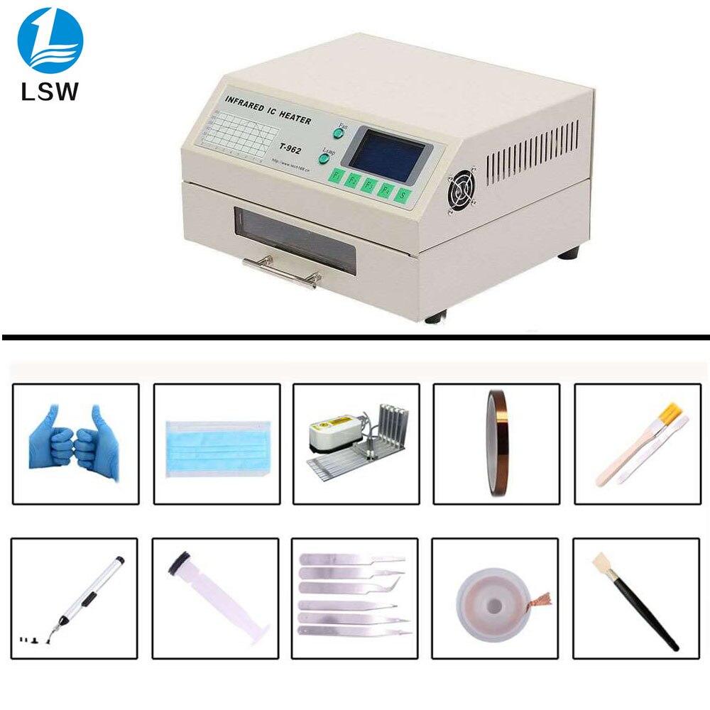 PUHUI Stock T-962 220V Desktop Reflow Oven Infrared IC Heater Soldering Machine 800W 180 X 235mm T962 For BGA SMD SMT Rework