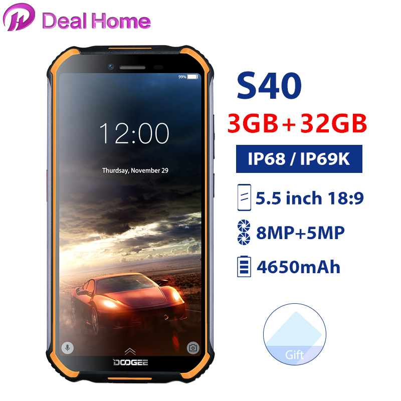 Doogee S40 5.5Screen Waterproof 3GB RAM 32GB ROM Smartphone MTK6739 Quad Core Android 9.0 4650mAh 8.0MP NFC 4G LTE Mobile Phone image