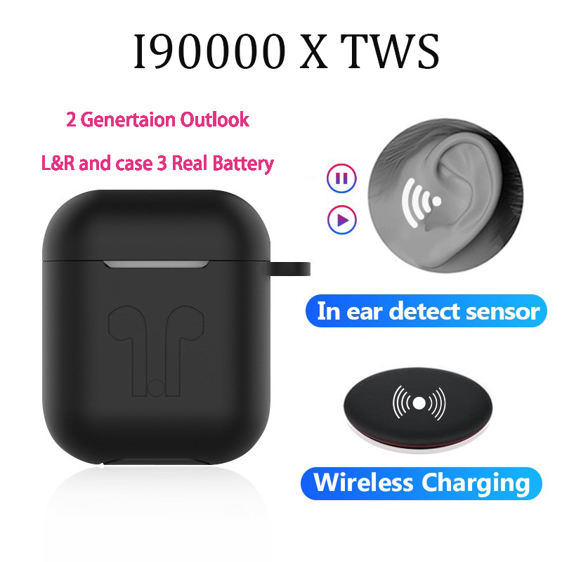 Original i90000X TWS Arie 2 Matte Black Wireless Headphones <font><b>8D</b></font> Pro Bluetooth 5.0 <font><b>Earphones</b></font> Earbuds PK W1 MX H1 Chip i9000 image