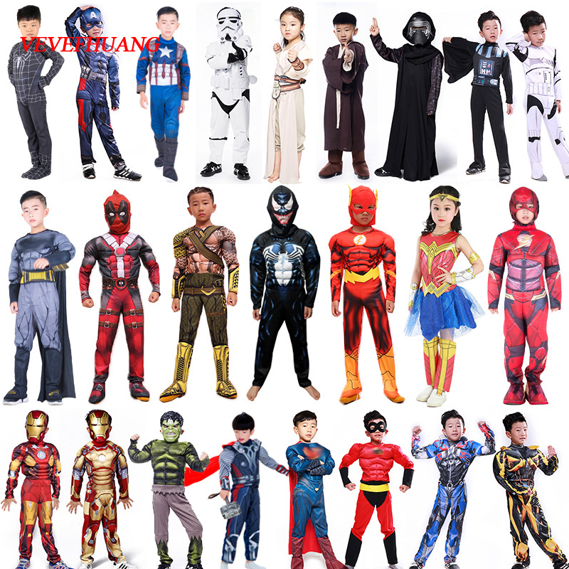 Spider Superman Iron Man Cosplay Costume For Boys Carnival Halloween Costume For Kids Star Wars Deadpool Thor Ant Man Panther