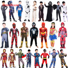Spider Superman Iron Man Cosplay Costume for Boys Carnival Halloween Costume for Kids Star Wars Deadpool Thor Ant man Panther(China)