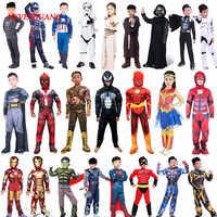 Spider Superman Iron Man Cosplay Costume per I Ragazzi di Carnevale Costume di Halloween per I Bambini Star Wars Deadpool Thor Ant Uomo Panther