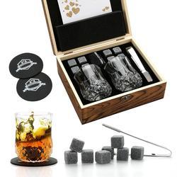 Whiskey Stones and Whiskey Glass Gift Box Set - 8 Granite Chilling Whisky Rocks + 2 Glasses in Wooden Box - Best Gift for Men Fa