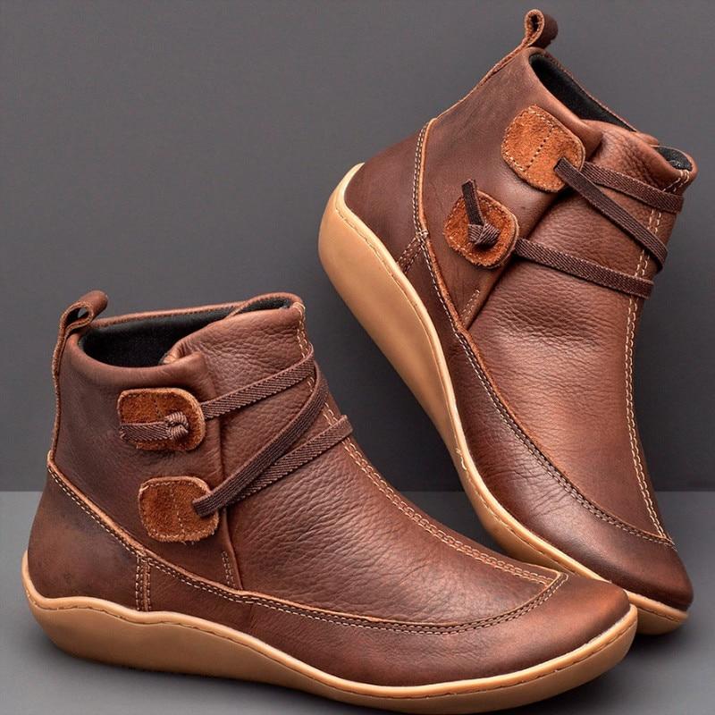 Sapatos de inverno botas de neve de couro botas primavera marrom sapatos planos mulher curto com pele rendas até botas mujer invierno