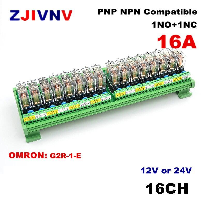 16 canaux 1NO + 1NC, 1 Module de relais d'interface de bâti de Rail DIN de SPDT avec le G2R-1-E d'omron 16A entrée c. C 12V 24V PNP NPN compatible