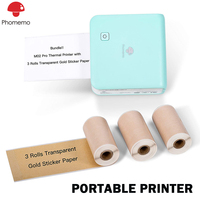 Phomemo M02 Pro Pocket Printer with 3 Rolls Transparent Gold Paper Compatible with iOS + Android for Plan Journal Study Notes