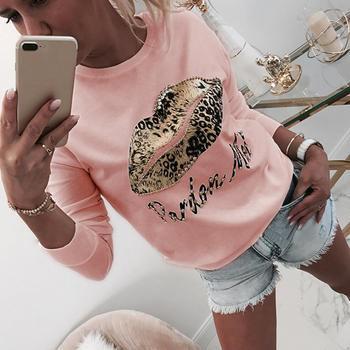 Long Sleeve Women Blouse And Tops Shirt Autumn Lips Letter Printed White Ladies Blouse For Female Tops Shirt O Neck Beading D30 3