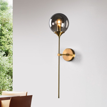 Artpad Northern Europe Led Wall Mounted Sconces Clear Gray Amber Glass Lampshade E14 Socket for Living room Washroom Lamp
