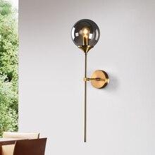Artpad 북유럽 led 벽 마운트 sconces 지우기 회색 앰버 유리 전등 갓 e14 소켓 거실 벽 램프