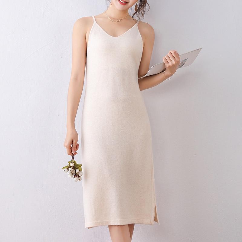 2020 New 100% Pure Wool Knit Dress Sling V-neck Women's Sweater Skirt Bottoming Skirt Mid-length Fashion