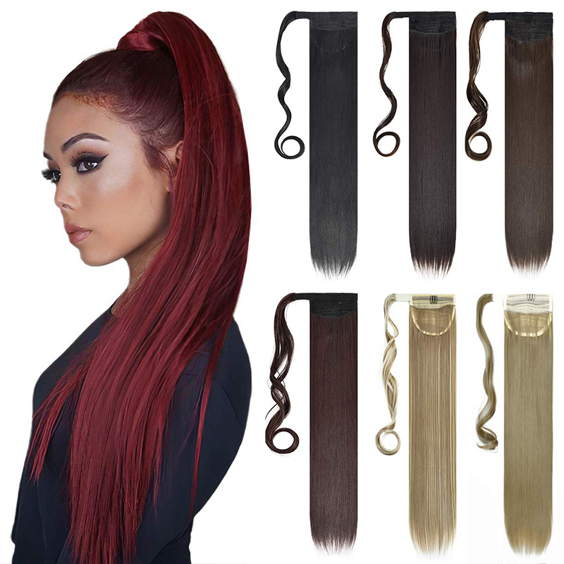 22inch Long straight Real Natural Ponytail Clip in Pony tail Hair Extensions Wrap Around on Synthetic Hair Piece