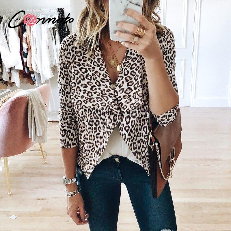 Conmoto Turn Down Spring Feminino Jackets Outwear Ladies Leopard Print Cardigans Women Coats Casual Sude Leather Outwear