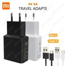 Дорожное зарядное устройство Xiaomi, 5 В/2 А, стандарт ЕС, сетевое зарядное устройство с Type C Micro USB, кабель для передачи данных, переходник, для MI5 Max 3S Redmi Note 3 4 Pro 4X 5 5S, оригинал