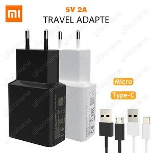 Image 1 - Xiaomi המקורי מטען 5V/2A האיחוד האירופי סוג C מיקרו USB נתונים כבל נסיעות טעינת מתאם עבור MI5 מקסימום 3S Redmi הערה 3 4 פרו 4X 5 5S