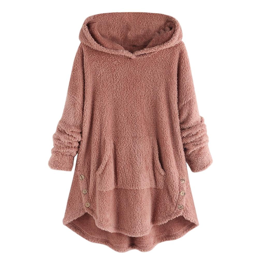sudaderas mujer 2020 ropa mujer bluza damska hoodies women Fleece Asymmetrical Button Hem Plus Size Hoodie moletom