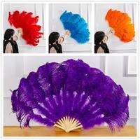 Ostrich Feather Fan Halloween DIY Party Wedding Decorative Bamboo Plumes Fan Celebration Home Ornament 13 Shares Wholesale