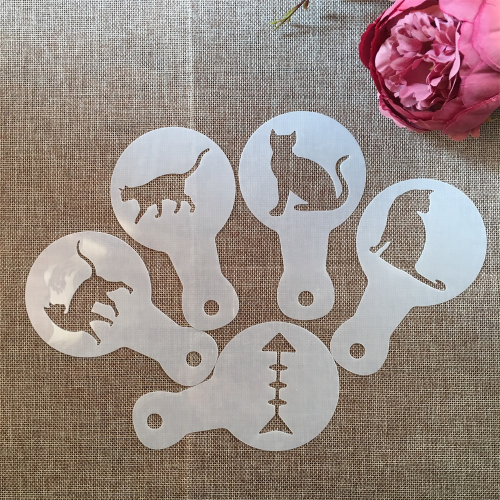 5Pcs/Lot 14*8.5cm Cute Cat Kitten DIY Layering Stencils Painting Scrapbooking Stamping Embossing Album Paper Card Template