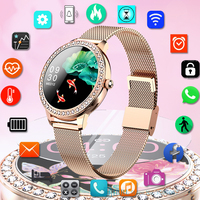 Reloj inteligente de lujo con diamantes para mujer, pulsera de Fitness resistente al agua IP68, de acero, 2021