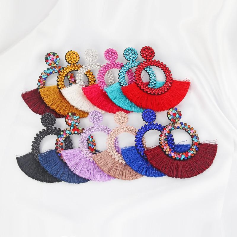 Itenice Tassel Earrings Women Punk Earings Jewelry Hanging Crystal Star Girls Earring Drop Dangle Long Boho Set Luxury