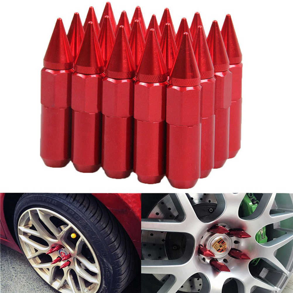 Green M12x1.5 90mm Aluminum Open End+Spike Cap Tuner Wheel Lug Nut+Adapter 20
