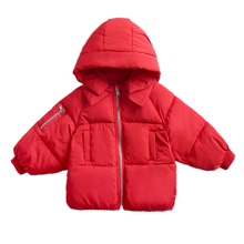 Dla dzieci ciepła ocieplana kurtka odzież wierzchnia niemowlęta dziewczyny chłopcy zimowe z kapturem z kapturem z bawełny wyściełane ubrania dla dzieci grube płaszcze odzież dla dzieci 2-6years tanie tanio NoEnName_Null Moda COTTON Poliester Octan WT1909032 Pełna Stałe REGULAR Pasuje prawda na wymiar weź swój normalny rozmiar