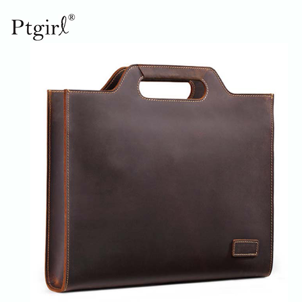 New Genuine Leather Men's Handbags Retro Crazy Horse Leather Men Tote Bag Shoulder Messenger Business Men Briefcase Laptop Bags