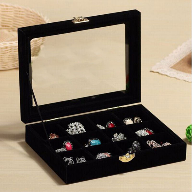12 Grids Velvet Jewelry Box Rings Earrings Necklaces Makeup Holder Case Organizer Women Jewelery Storage New