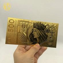 Горячее предложение, 1 шт., неизданный 1994 выпуск, польская валюта, спроектированная 24K Золотая банкнота 500 злотых для банковских сувениров