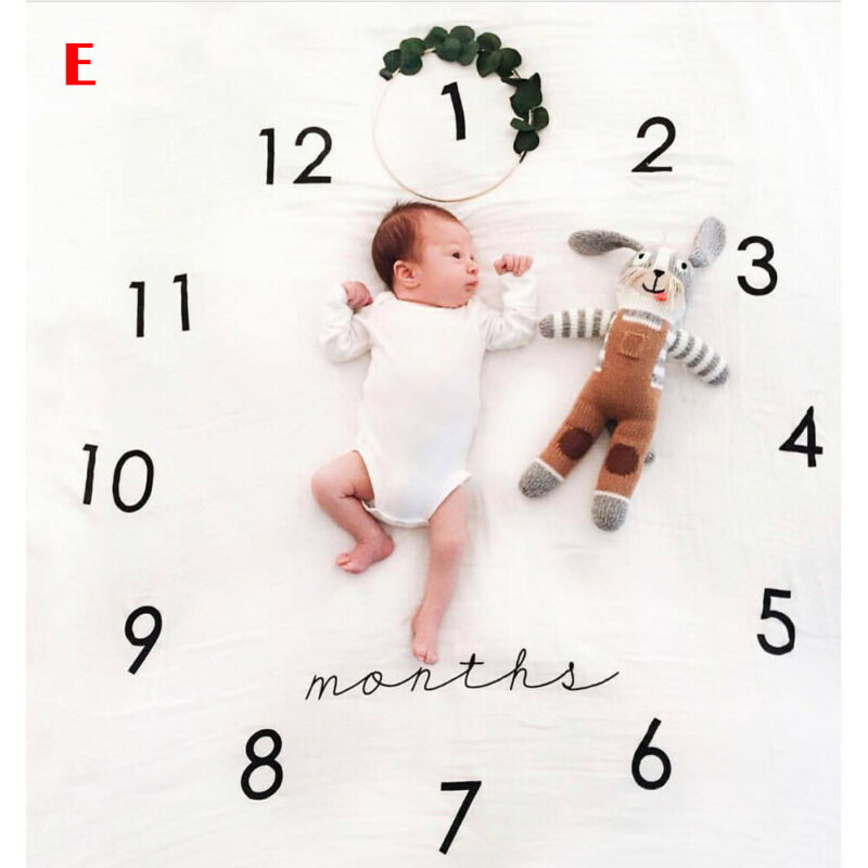 Newborn Baby Blanket Infant Baby Milestone Photography Prop Monthly Flowers Numbers Photo Prop Backdrop Cloth Photo Accessories