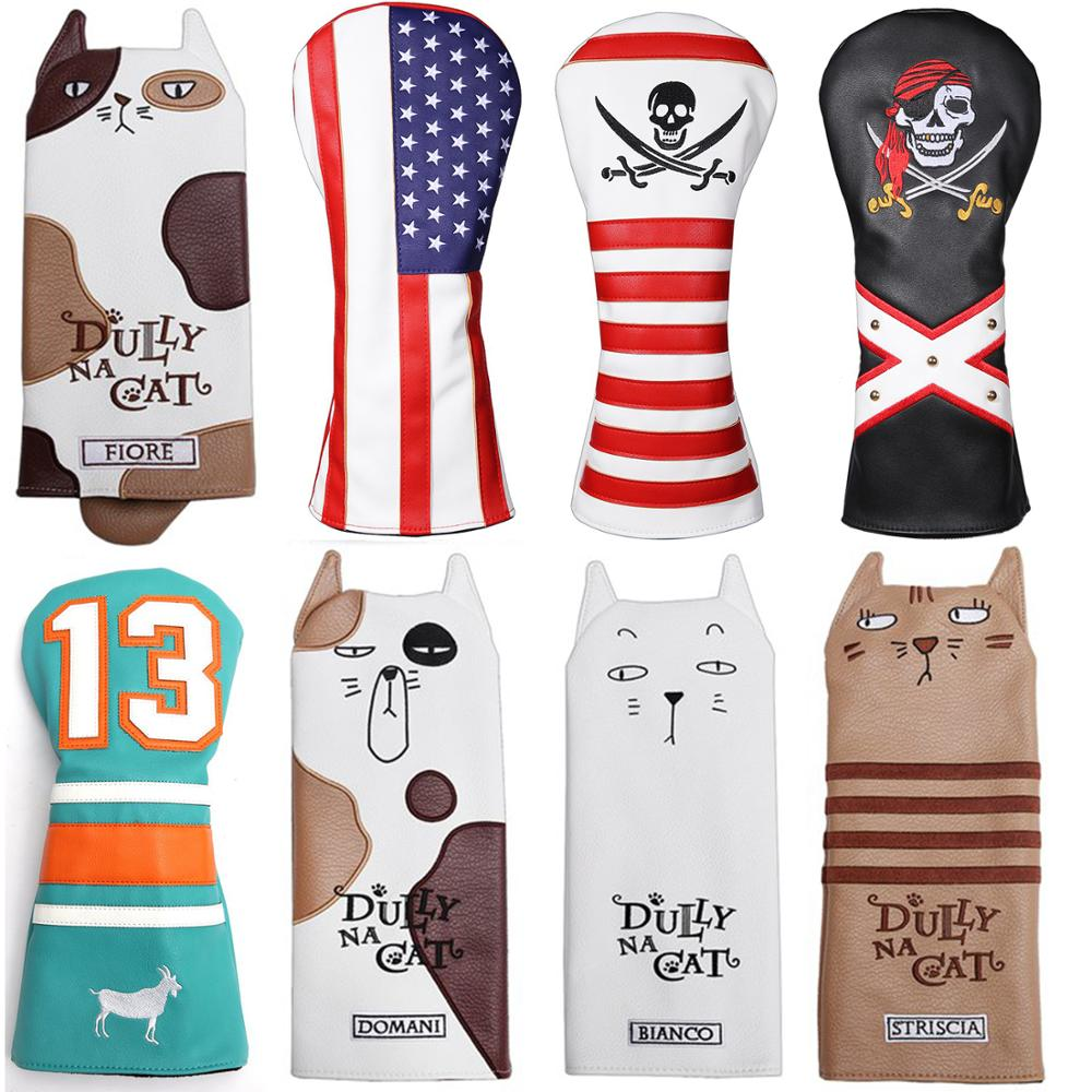 Golf Driver Headcover With Tail For Man Women PU Leather Cartoon Style Lovely Golf Driver Cover