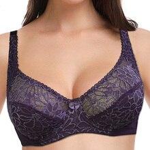 נשים תחרה חזיית כוס גדולה בתוספת גודל תחתוני Bralette חולצות סקסי הלבשה תחתונה Underwire ללא ריפוד חזייה 34 44 B C D E F כוס