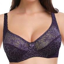 Women Lace Bra Large Cup Plus Size Underwear Bralette Tops Sexy Lingerie Underwire unpadded Brassiere 34 44 B C D E F Cup