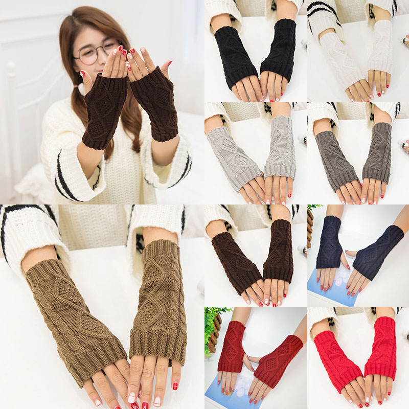 Solid Winter Gloves Women Knitted Fingerless Ladies Gloves Arm Warmer Mittens Glove Winter Warm Wrist With Wool Red Black Gray