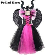 Kızlar siyah gül kırmızı Maleficent kraliçe tutu elbise çocuklar cadılar bayramı kostüm karnaval parti kızlar için elbiseler çocuk giysileri XX060