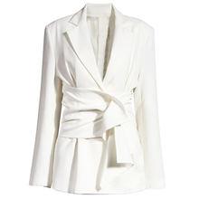 Xuxi осень 2020 Женский костюм пальто белый пояс свободный вырез