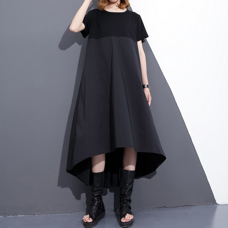 New Fashion Style Black Loose Hit Coor Back Long Pleated Stich Dress Fashion Nova Clothing