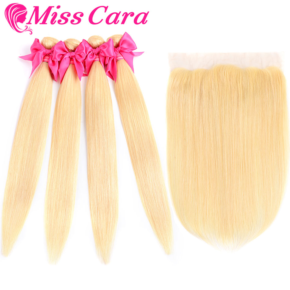 Miss Cara 613# Blonde Peruvian Straight Hair Bundles With Frontal 100% Remy Blonde Human Hair 3 Bundles With Frontal image