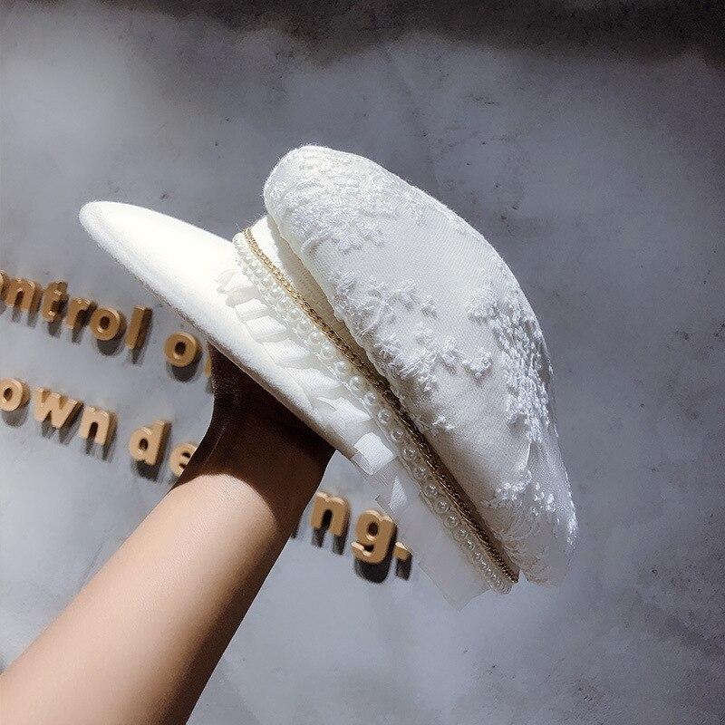 Ms Paris Runway Looks Small Mouth Edge Wool Cap Hat Women Brim Autumn Winter Cap Hipster ZhuangShiMao Fashion Hat Ladies Visor