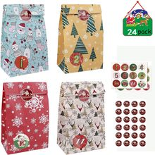 24pcs Advent Calendar For Filling Christmas Gift Paper Bags With 1-24 Number Stickers Christmas Advent Bags For Christmas Gift