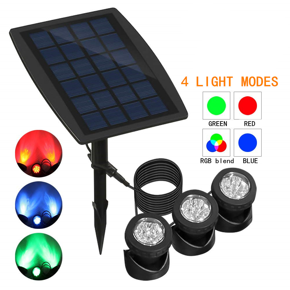 18 LED Outdoor Solar Powered LED Underwater Pond Lights Spotlights Waterproof