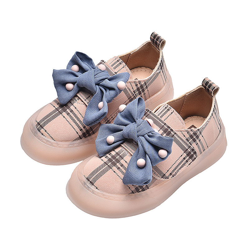 2019 Spring And Autumn New Girl Shoes Princess Soft Bottom Casual Plaid Pattern Breathable Girls Sneakers Size 21-30 Lovely Baby