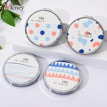 Vicney Blue Orange Element Geometric Pattern New Portable Makeup Mirror Round Pop-up Pocket Fashion Fresh Beauty
