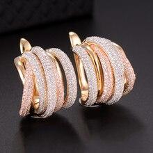 GODKI 25mm Luxury Twist Braided Lines Colorful Full Mirco Pink Cubic Zirconia Setting European Wedding Earring Fashion Jewelry