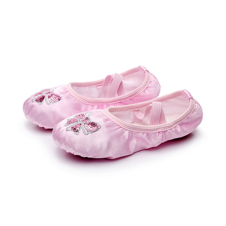 A Generation Of Fat CHILDREN'S Dance Shoes Women's Ballet Shoes Korean-style Embroidered Sequin Satin Yoga Shoes Girls Dancing S
