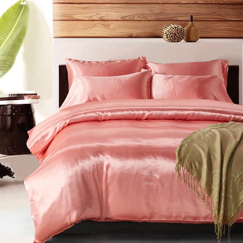 Modern Wedding Silk Bedding Sets Queen Solid Color Purple Duvet Cover Luxury Bed Set Single Double King Quilt Comforter Bedlinen
