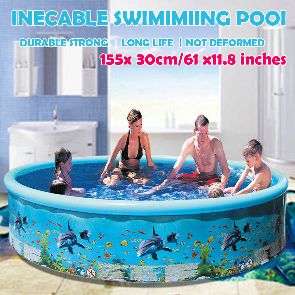 61inches Inflatable Swimming Pool Blow Up Pool For Family Kids Backyard Foldable Swimming Pool Kids Inflatable Pool