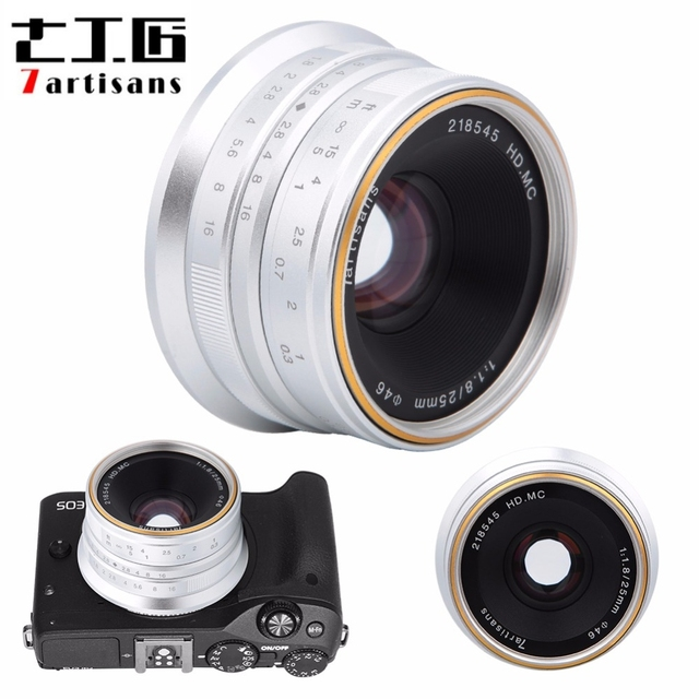 7 rzemieślników 25mm F1.8 ręczne ustawianie ostrości obiektyw do sony E A5000 A5100 A6300 A6500 dla Canon EOS M dla fuji fx dla Olympus M4/3