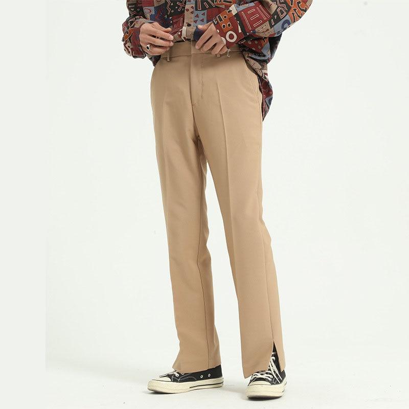 Men Side Split Casual Straight Suit Pant Male Japan Korea Style Loose Vintage Fashion Streetwear Trousers Solid Color Pants